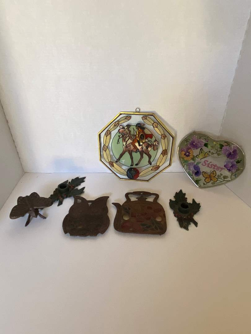 Lot # 24 Stained Glasses Pieces (hot plate, hangers), (2) Cast Iron Holly Candle Holders & Cast Iron Butterfly