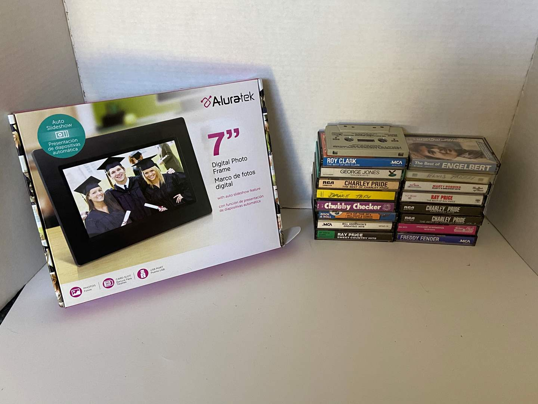 "Lot # 28 Aluratek 7"" Digital Photo Frame NIB & Cassette Tapes"