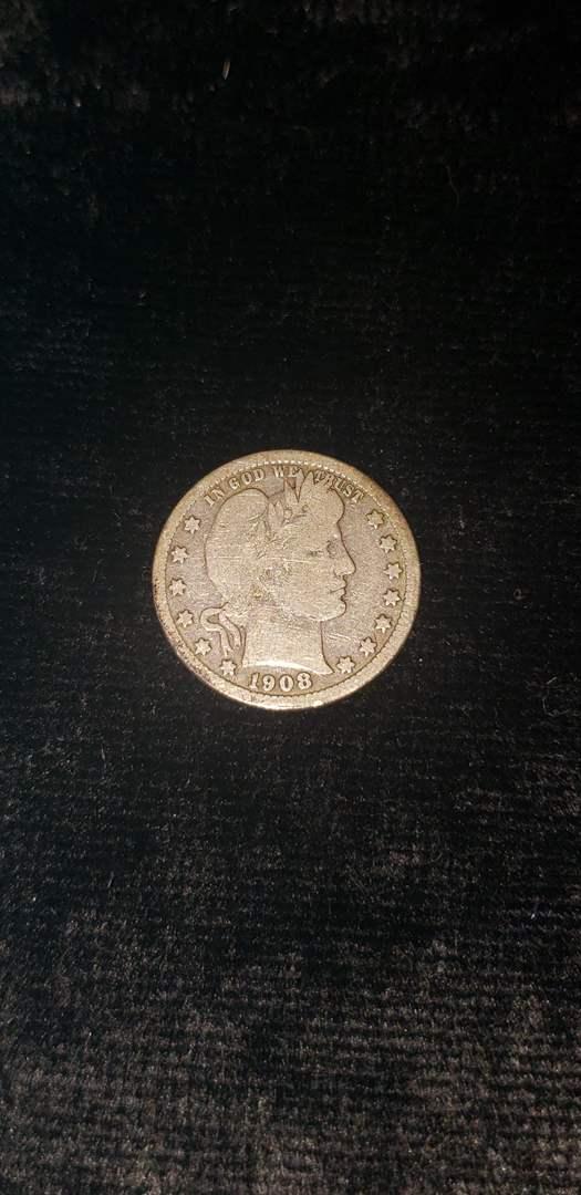 Lot # 57 1908-D Barber Silver Quarter
