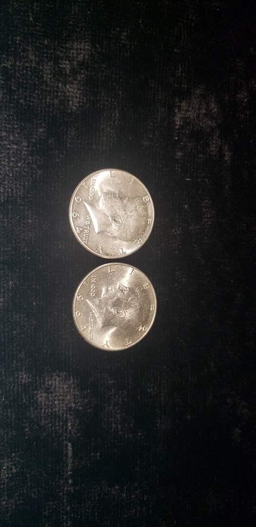 Lot # 59 (2) 1964 Franklin Silver Half Dollars