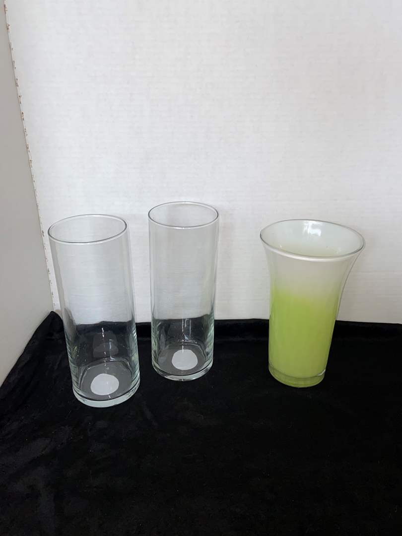 Lot # 85 Pair of Clear Glass Vases & Two Toned Vase