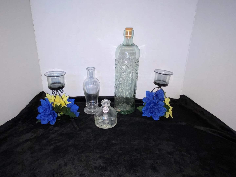 Lot # 86 (3) Glasses Bottles & (2) Tea Lights