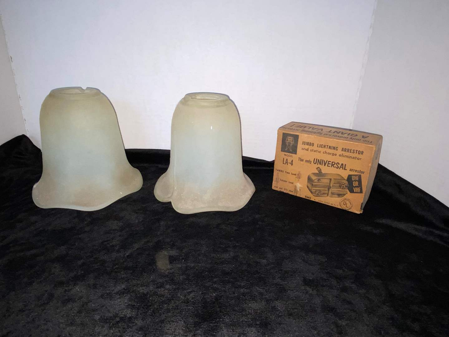 Lot # 87 (2) Frosted Glass Fixtures & Universal Arrestor