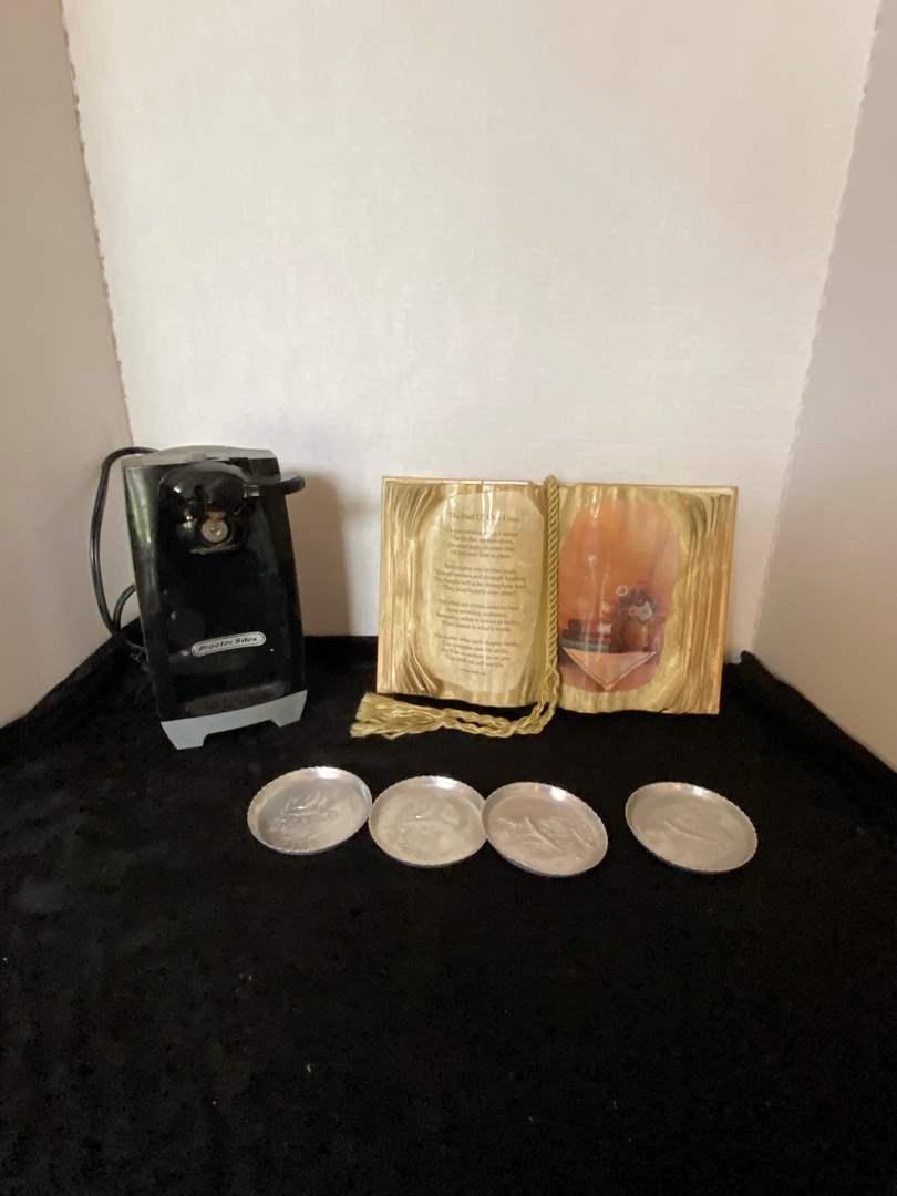 Lot # 90 Electric Can Opener, Aluminum Coasters & Prayer Book Decor