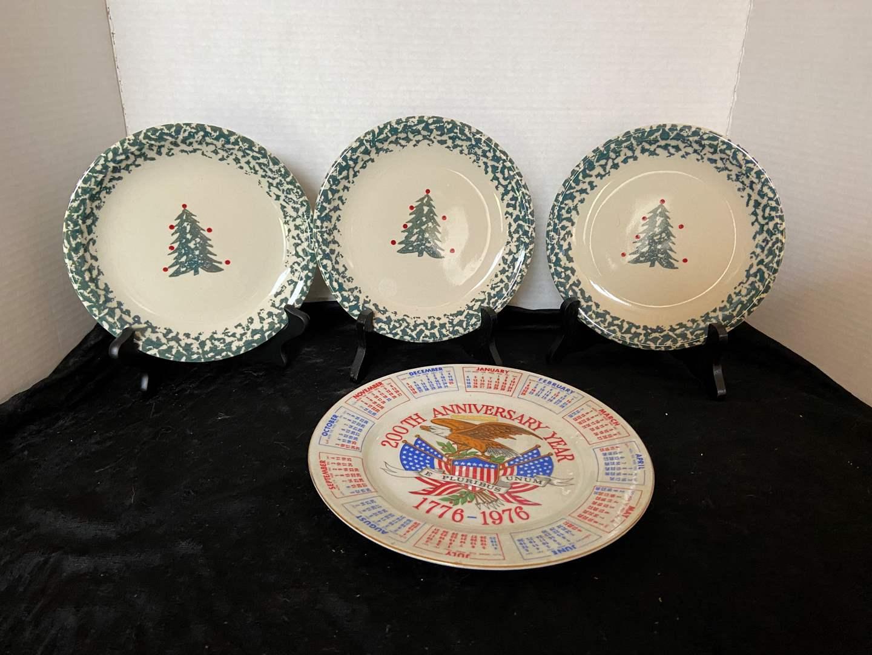 Lot # 94 (3) Folk Craft Christmas Plates & 1976 Plate