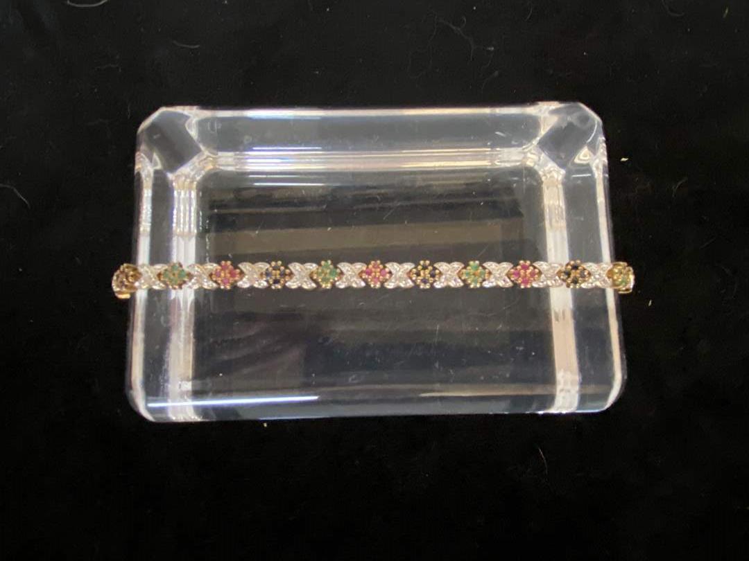 Lot # 106 Beautiful Sterling Silver Multi Stone Tennis Bracelet