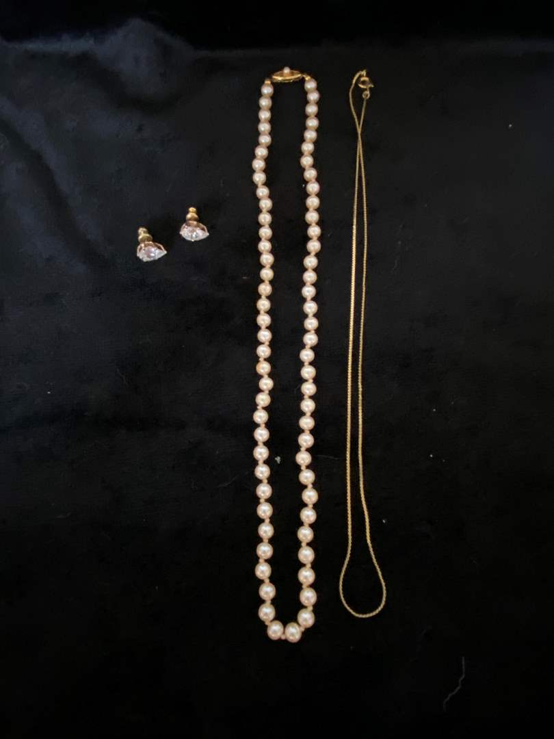 Lot # 113 Necklace made in Japan, Chain & Earrings