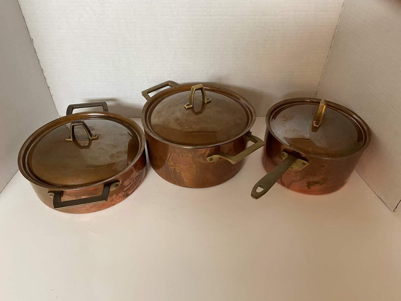 Lot # 124 Vtg Paul Revere Copper Pots w/ Matching Lid
