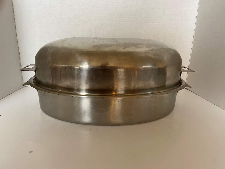 Lot # 135 Vintage Carlton Stainless Steel Roasting Pan Art Deco Handles Turkey Roaster