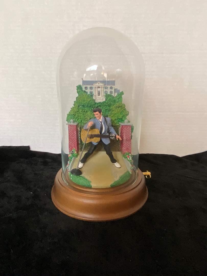 Lot # 188 Franklin Mint Elvis Presley Graceland Love Me Tender Music Box Glass Dome Figure