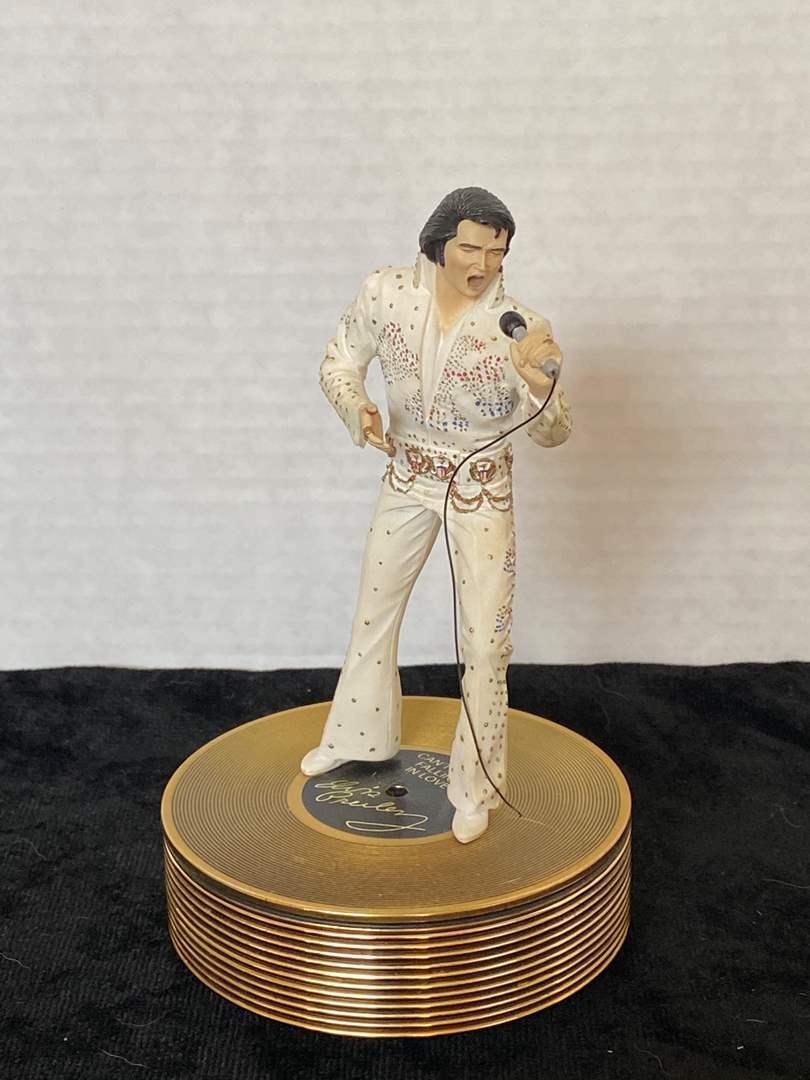 "Lot # 193 Ardleigh Elliot Elvis Forever Gold Music Box ""Aloha From Hawaii""9"""