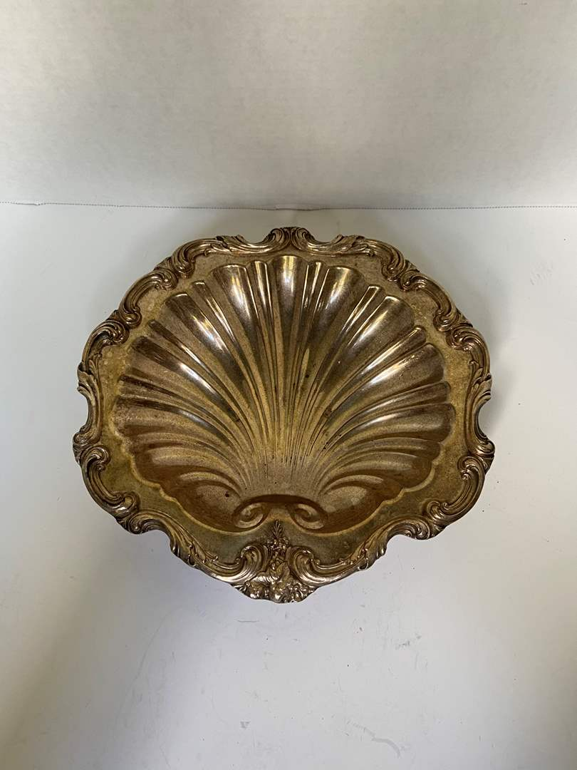 "Lot # 225 Vtg 10.5"" Scallop Shell Silver-Plated Tray/Dish/Bowl, English, Hallmark W&SB"