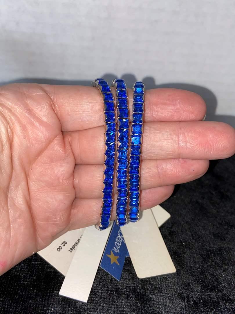 Lot # 288 (3) L. Erikson Blue Swarovski Bracelets