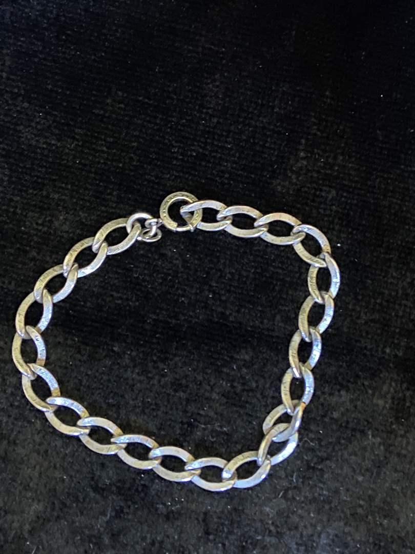 """Lot # 295 Marked Sterling Silver Bracelet 7.5"""" Signed CT"""