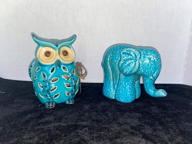 Lot # 330 Turquoise Owl & Elephant