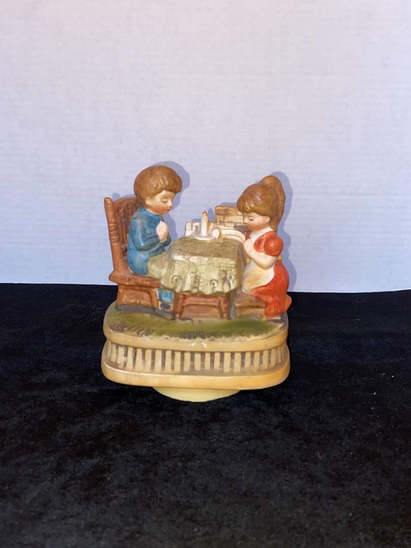 Lot # 338 Vtg Chadwick Miller Music Box Praying at Table w/ Candle