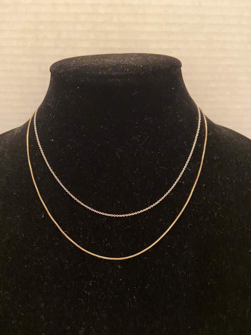 """Lot # 348 (2) Sterling Silver Necklaces 18"""" & 16"""" Stamped Italy"""