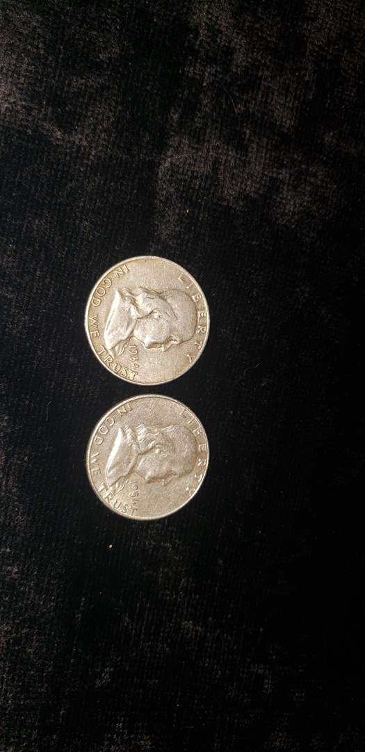 Lot # 372 (2) 1954 Franklin Half Dollars