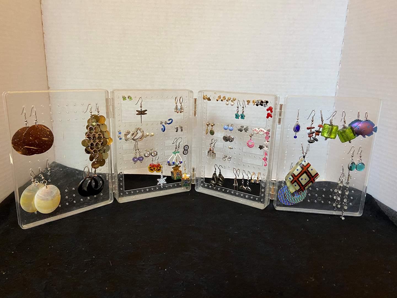 Lot # 380 Fashion Jewelry Earrings w/ Holder