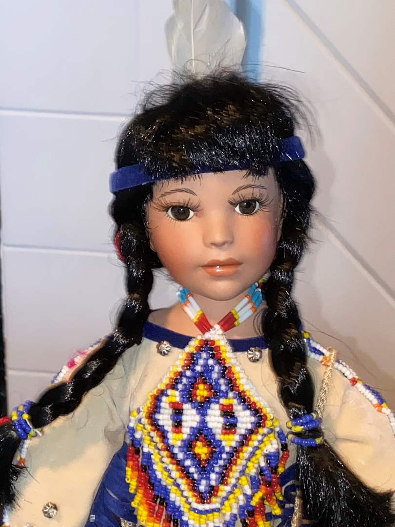 Lot # 400 Paradise Galleries Porcelain Native American Indian Collection Doll Indian Girl
