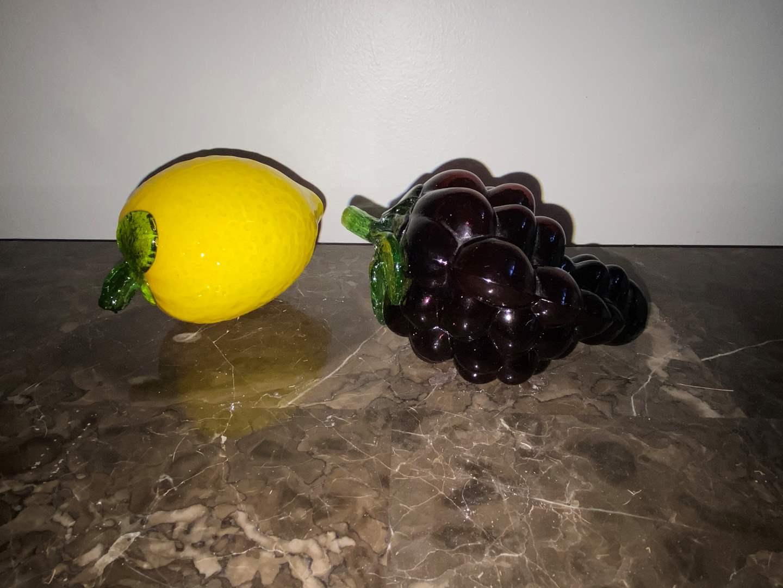 Lot # 410 Beautiful Glass Lemon & Grapes