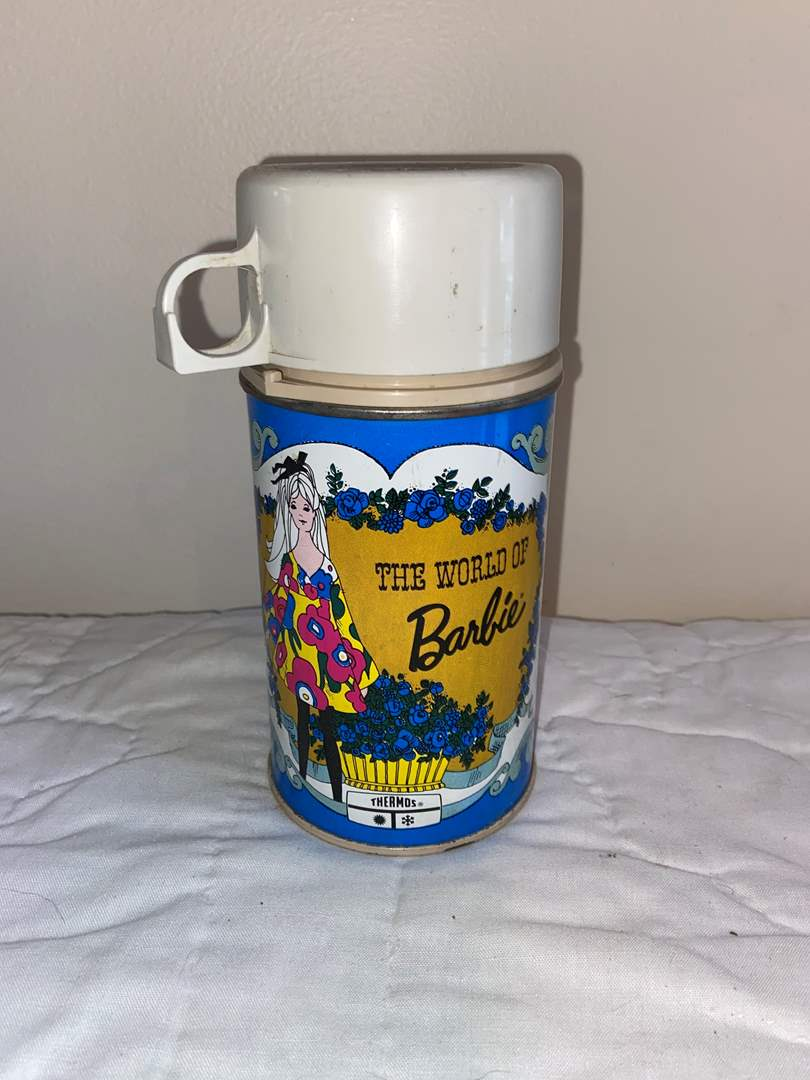 Lot # 459 Vtg World of Barbie Blue Thermos