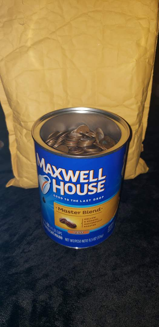 Lot # 463 Coffee can full of Wheat Pennies - Approx 7lbs