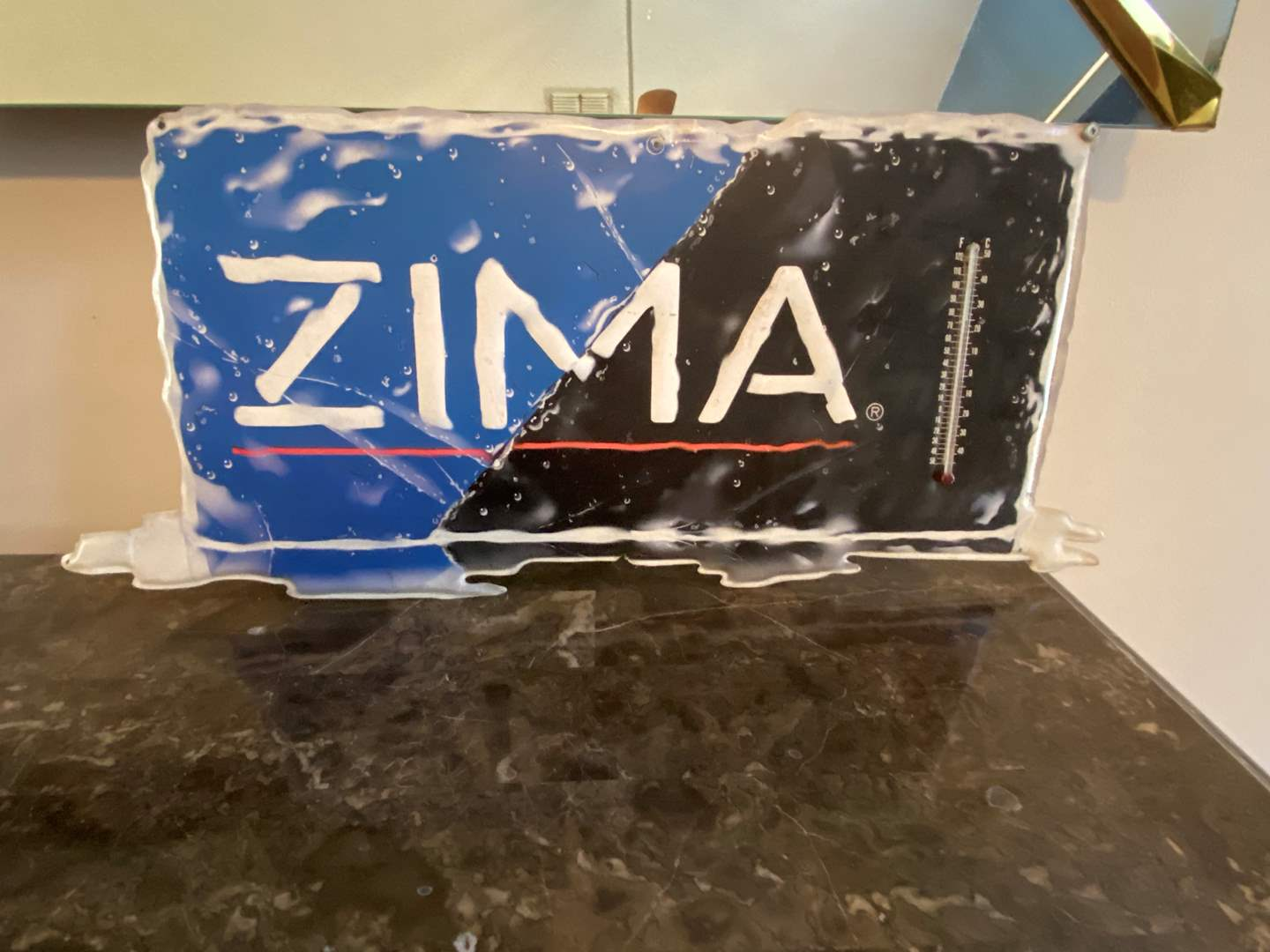 Lot # 487 Metal Zima Sign w/ Thermometer