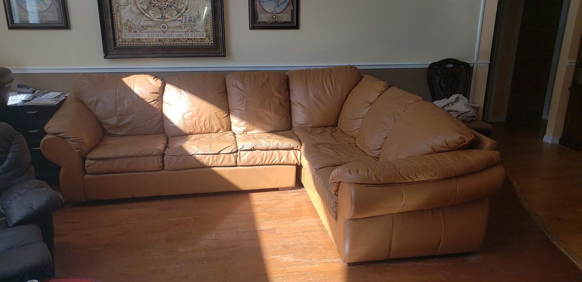 Lot # 516 Burnt Orange Genuine Leather Sectional