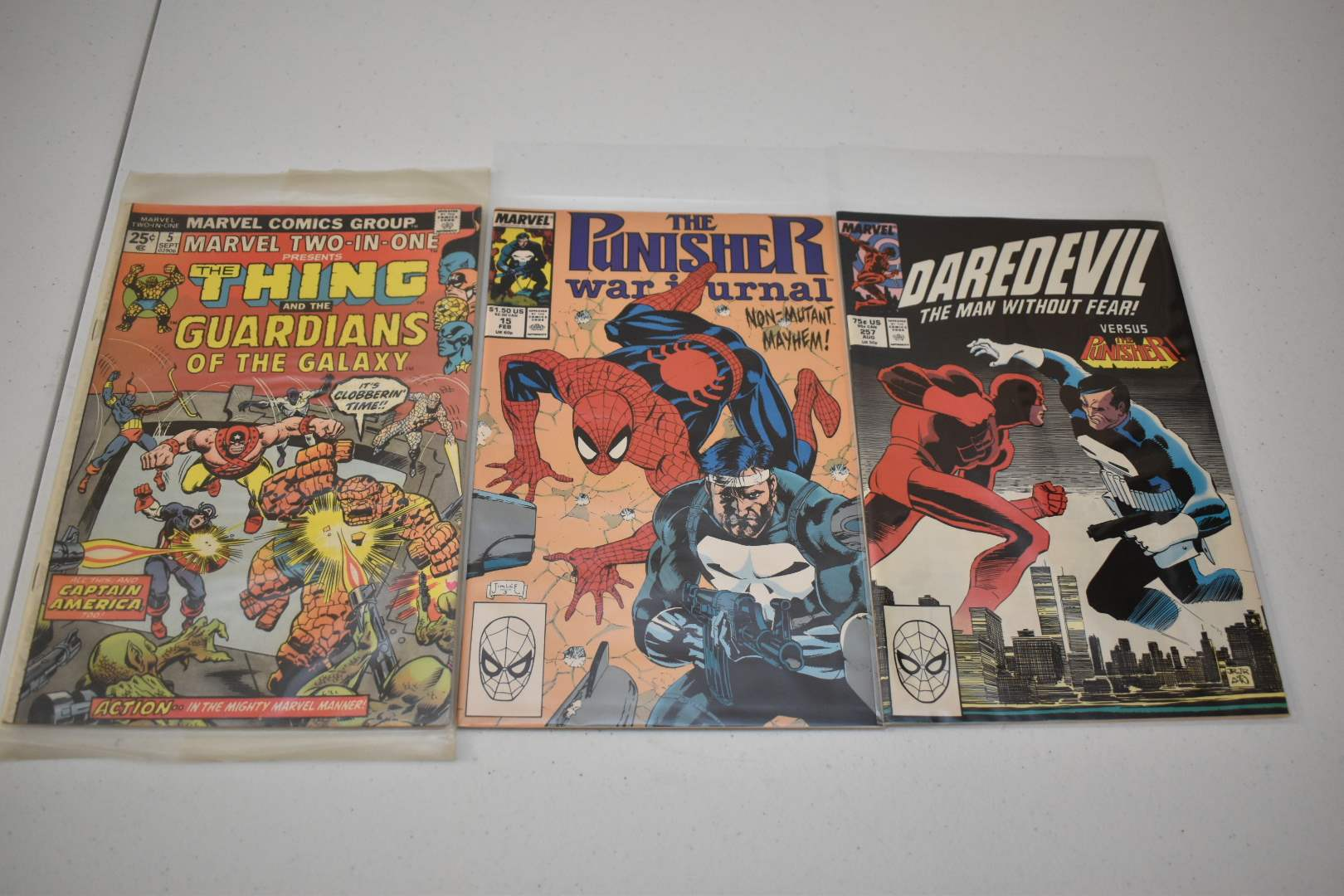 Marvel Comics: Early Guardians of the Galaxy, Punisher and Spider-Man, Punisher and Dare Devil