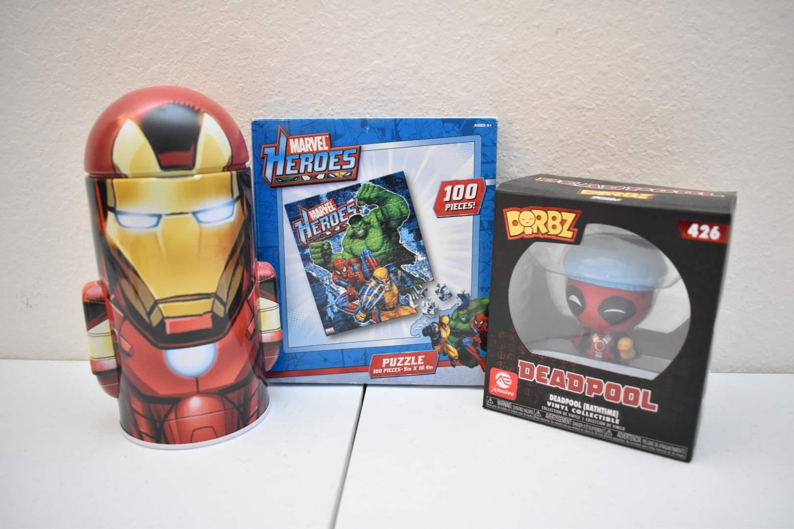 Iron Man Bank, Marvel Puzzle, Deadpool Dorbz Figure