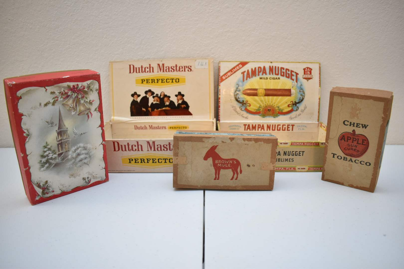Antique Empty Cigar Boxes with Visible Tobacco Stamps