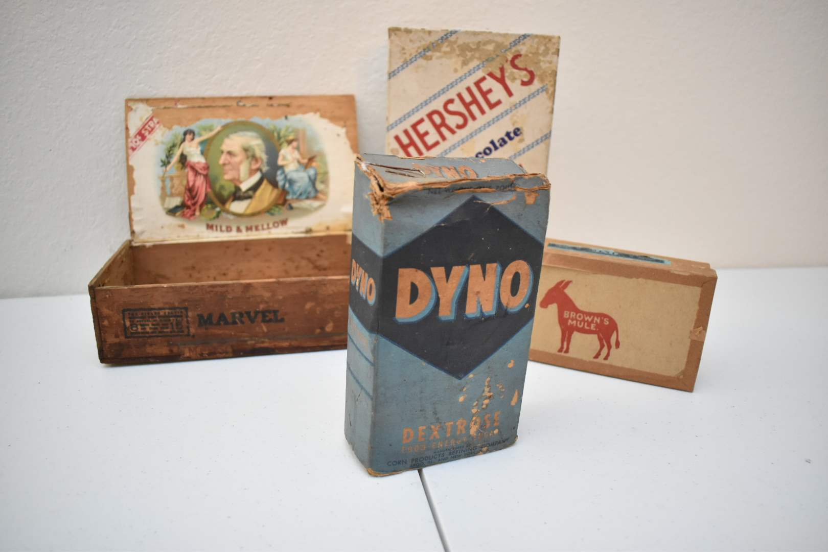 Antique Empty Cigar Boxes, Hershey's Box, and Almost-Full Dyno