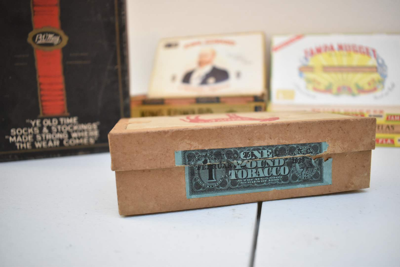 Antique Empty Cigar Boxes with Visible Tobacco Stamps from 1929