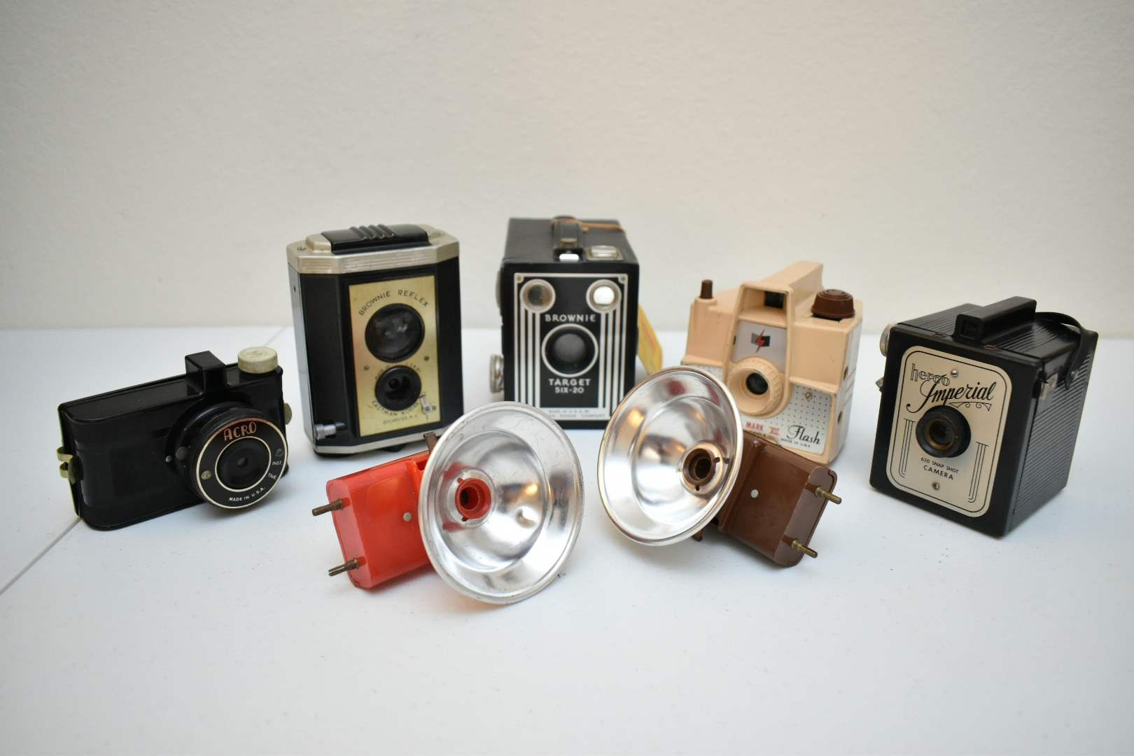 Vintage Camera Lot (5): Herco Imperials, Brownies, Acro, and Flashes