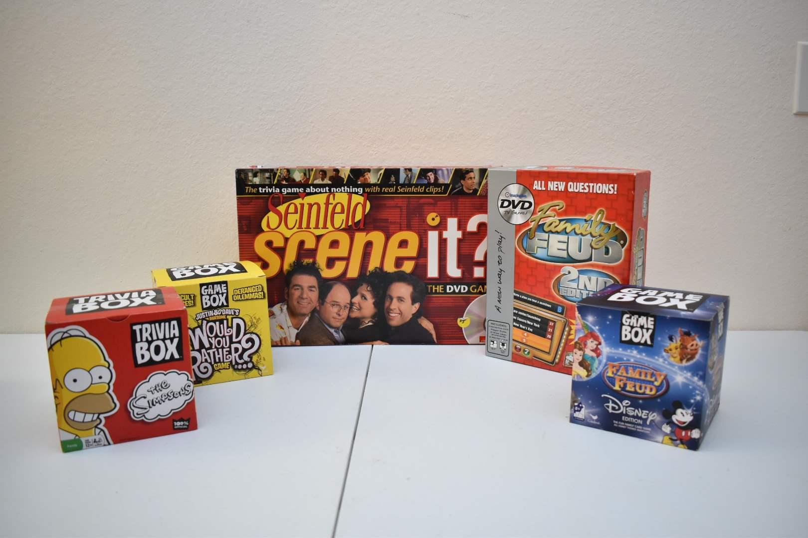 Games: Seinfeld Scene It, Family Feud, Disney Family Feud, Box Games