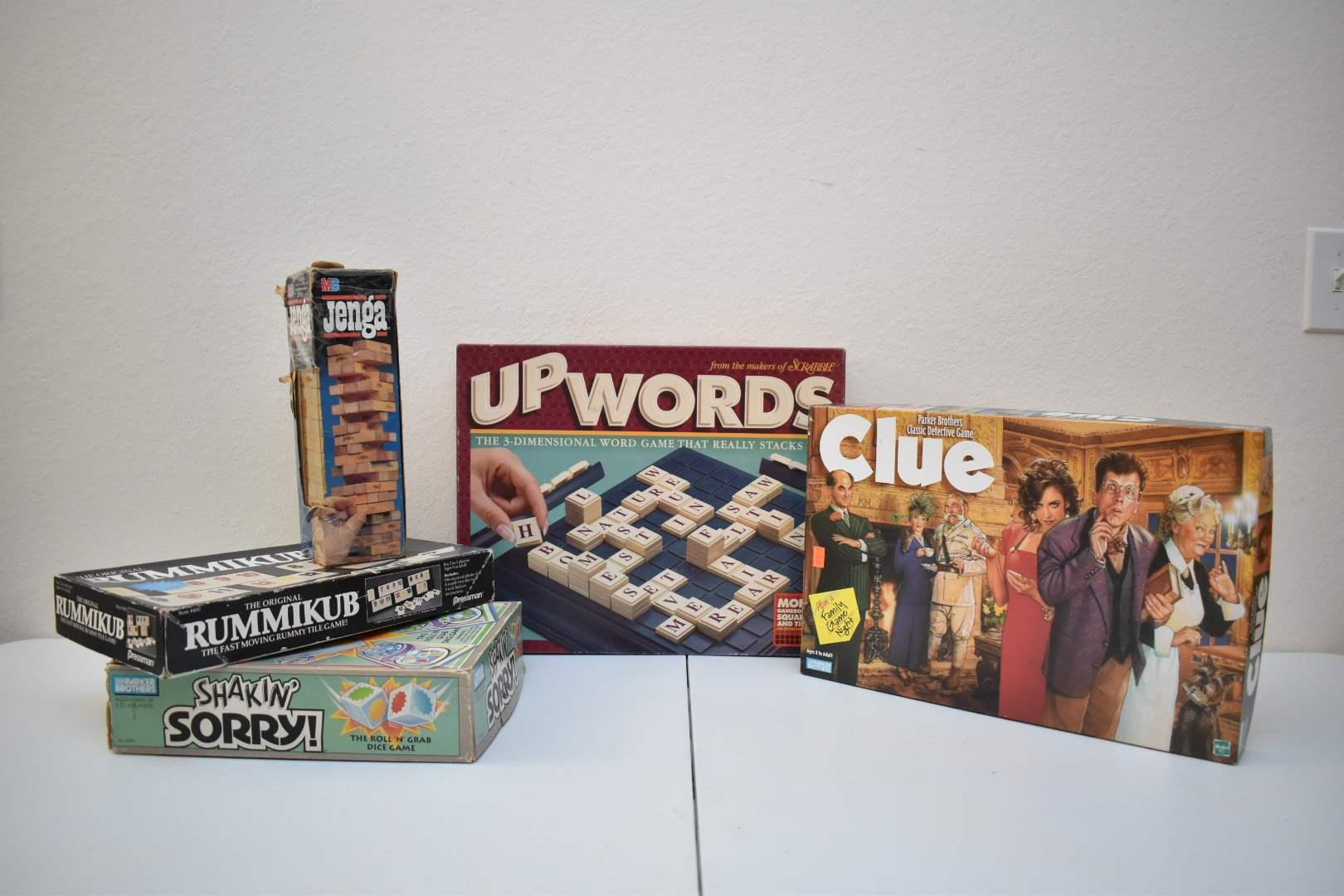 1990's Board Games: Clue, UpWords, Shakin' Sorry, Rummikub, Jenga