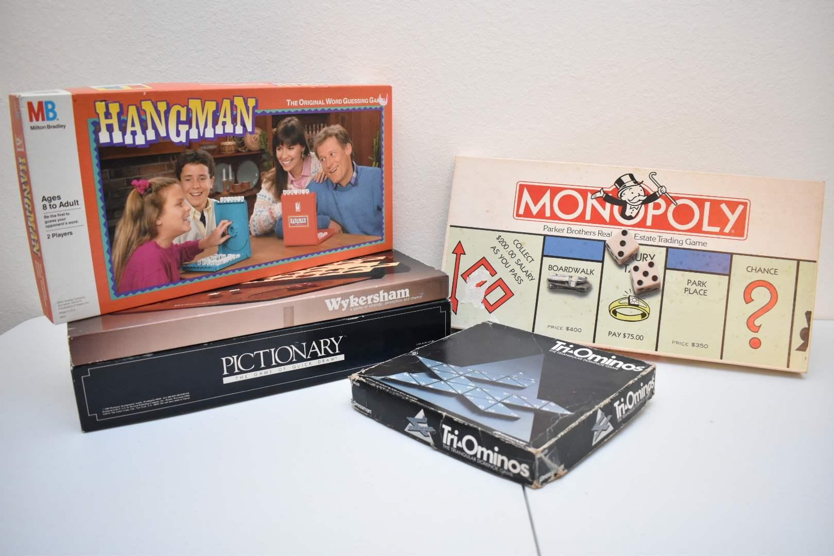 1980's Board Games: Monopoly, Triominoes, Wykersham, Pictionary, Hangman