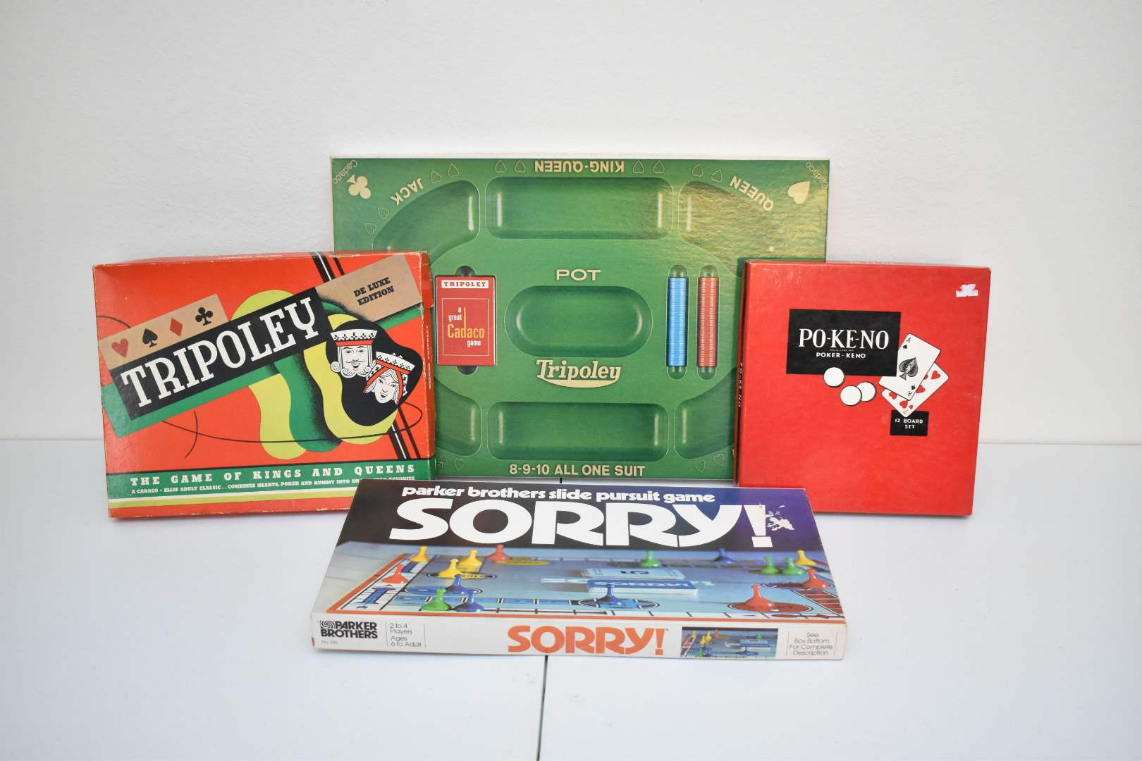 1950's-70's Board Games: Tripoley (1957), Po-Ke-No (1960s), Tripoley (1968), Sorry (1972)