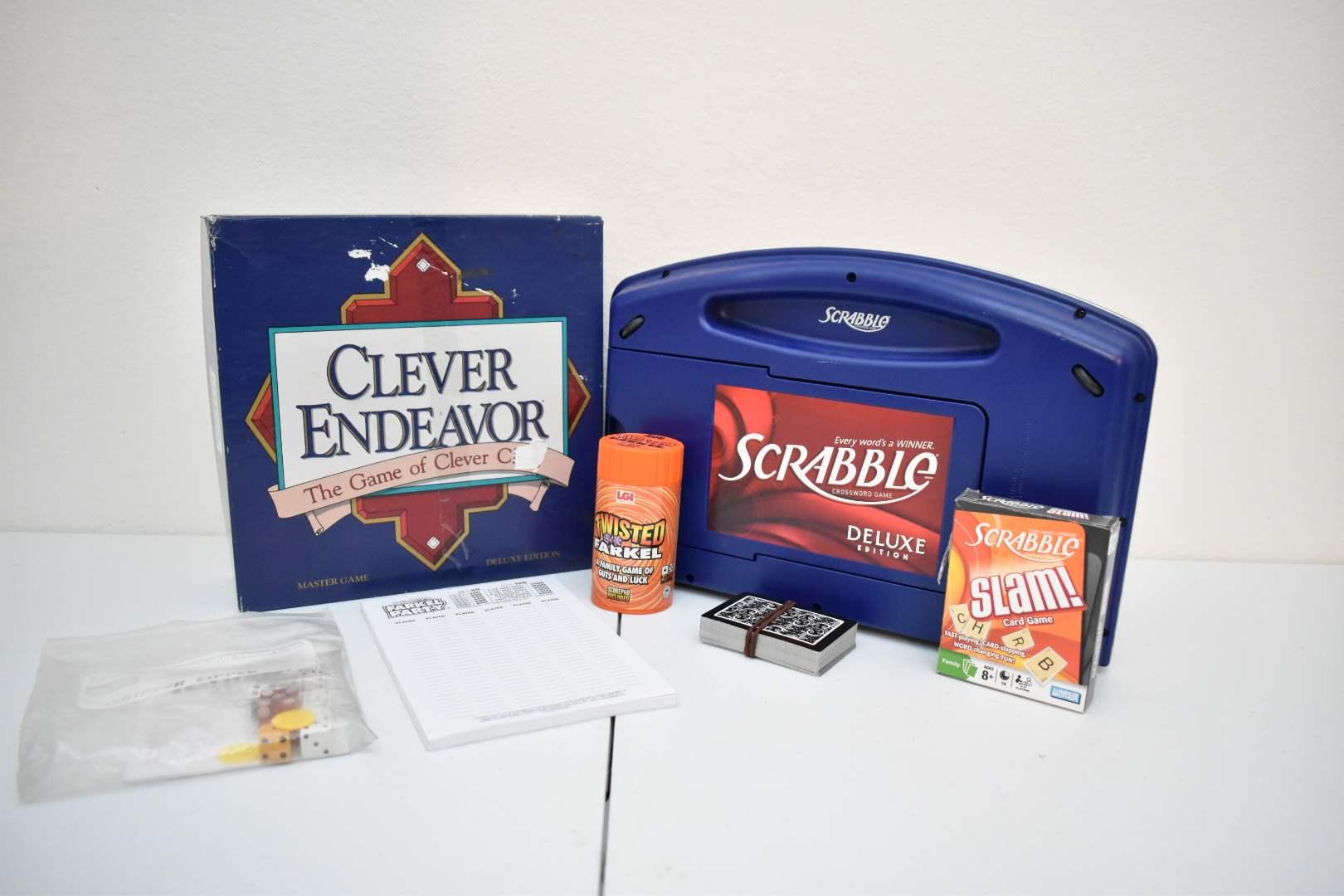 Games: Clever Endeavor, Scrabble Deluxe Edition, Scrabble Slam, Yahtzee, Farkel