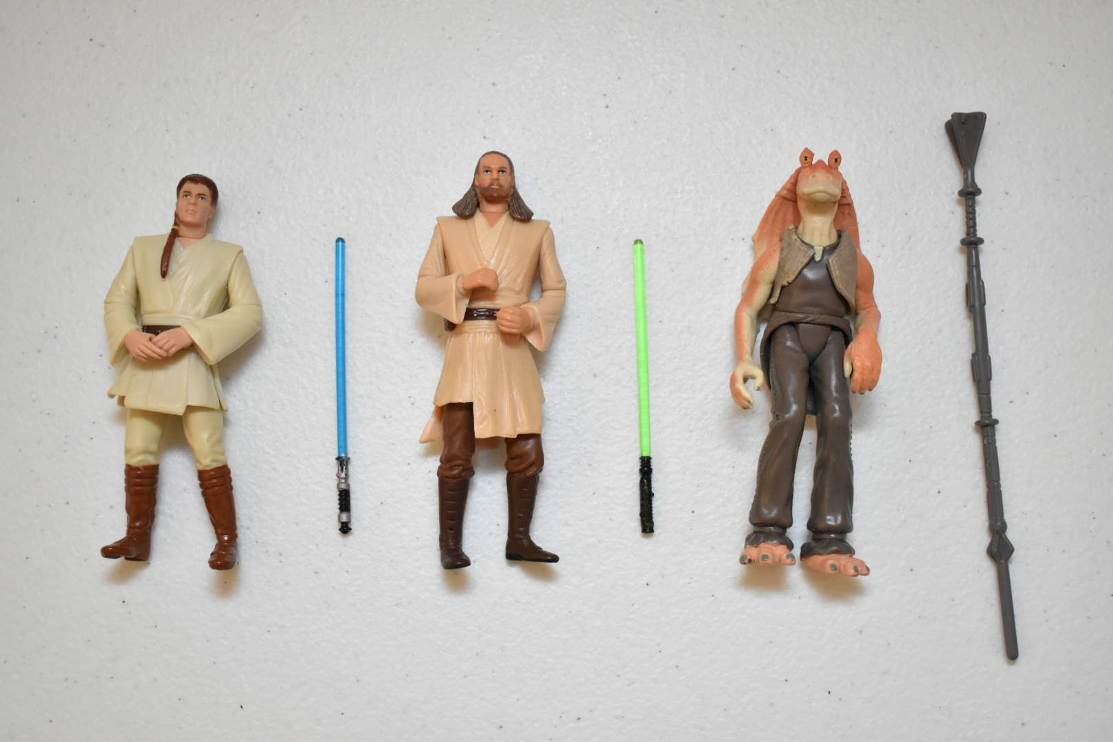 Vintage STAR WARS Obi-Wan, Qui-Gon, JarJar