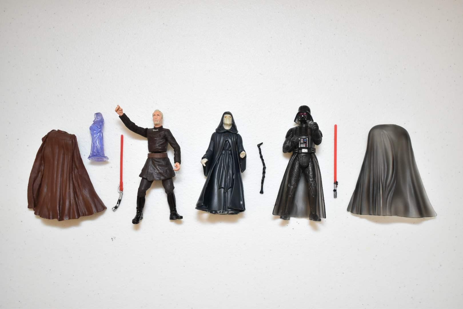 Vintage STAR WARS Darth Vader, Emperor Palpatine, Count Dooku