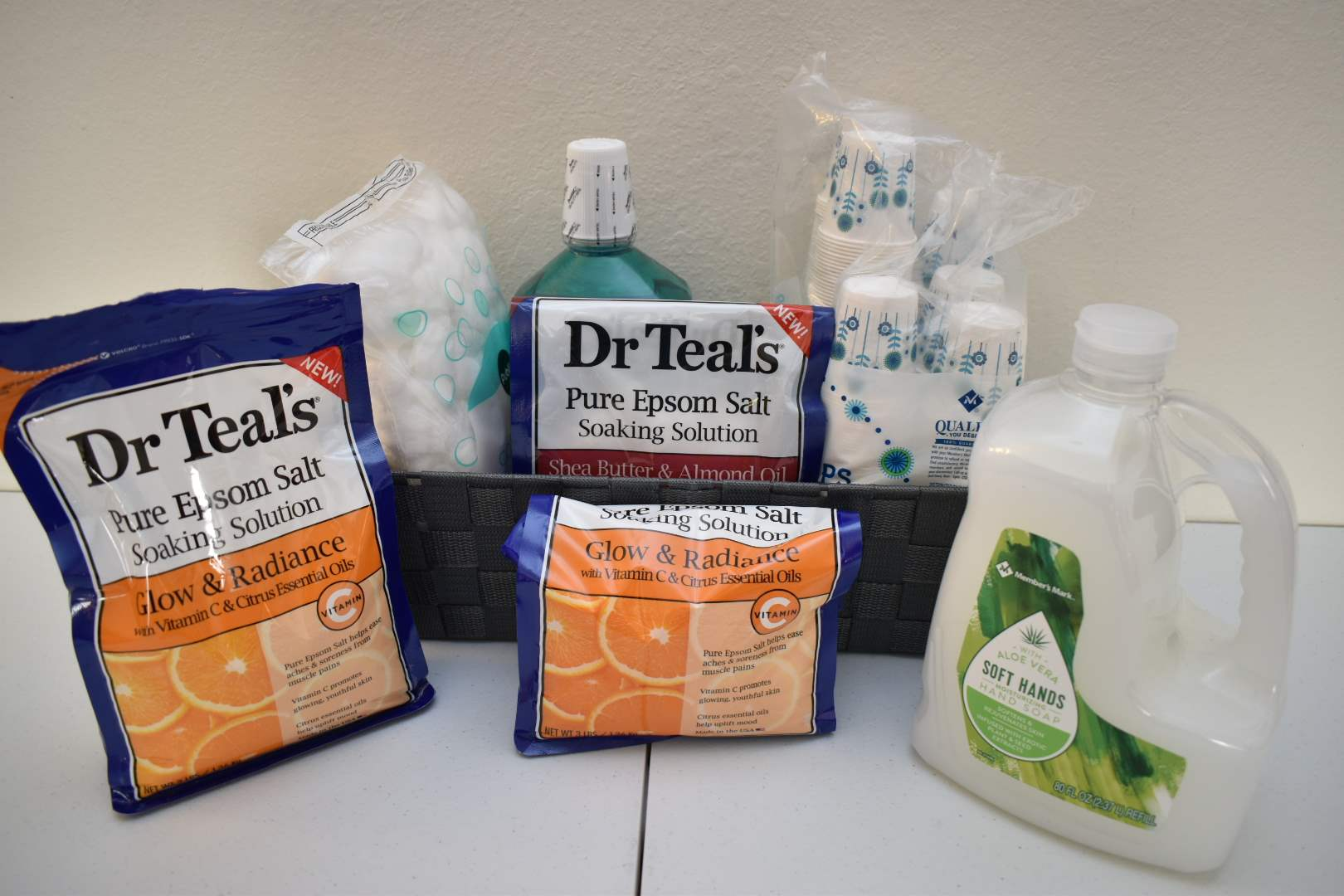 Dr. Teal's Infused Epsom Salts, Hand Soap, *Sealed* Mouthwash, 3oz. Paper Cups, Cotton Balls