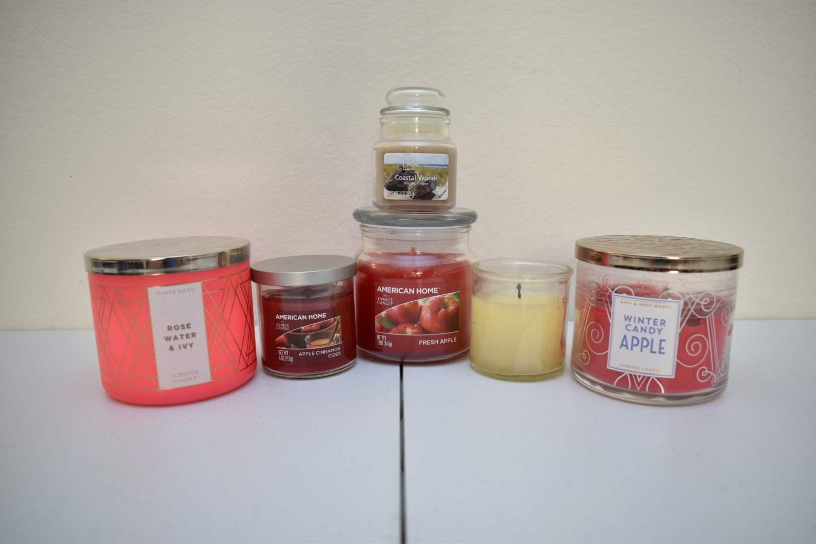 (5) Candles: Bath & Body Works, White Barn, Yankee Candle