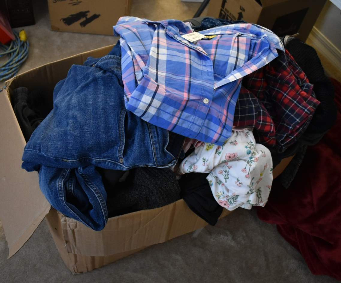 *HUGE* Box of Men and Women's Clothes, some with tags (various sizes)