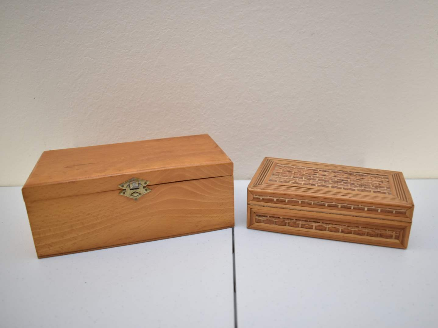(2) Light Brown Decorative Boxes