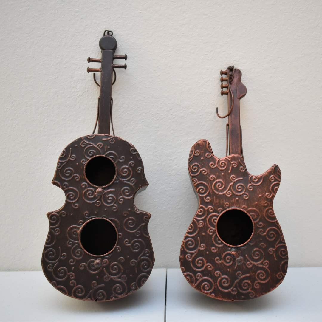 (2) Metal Instrument Birdhouses (Guitar & Violin)