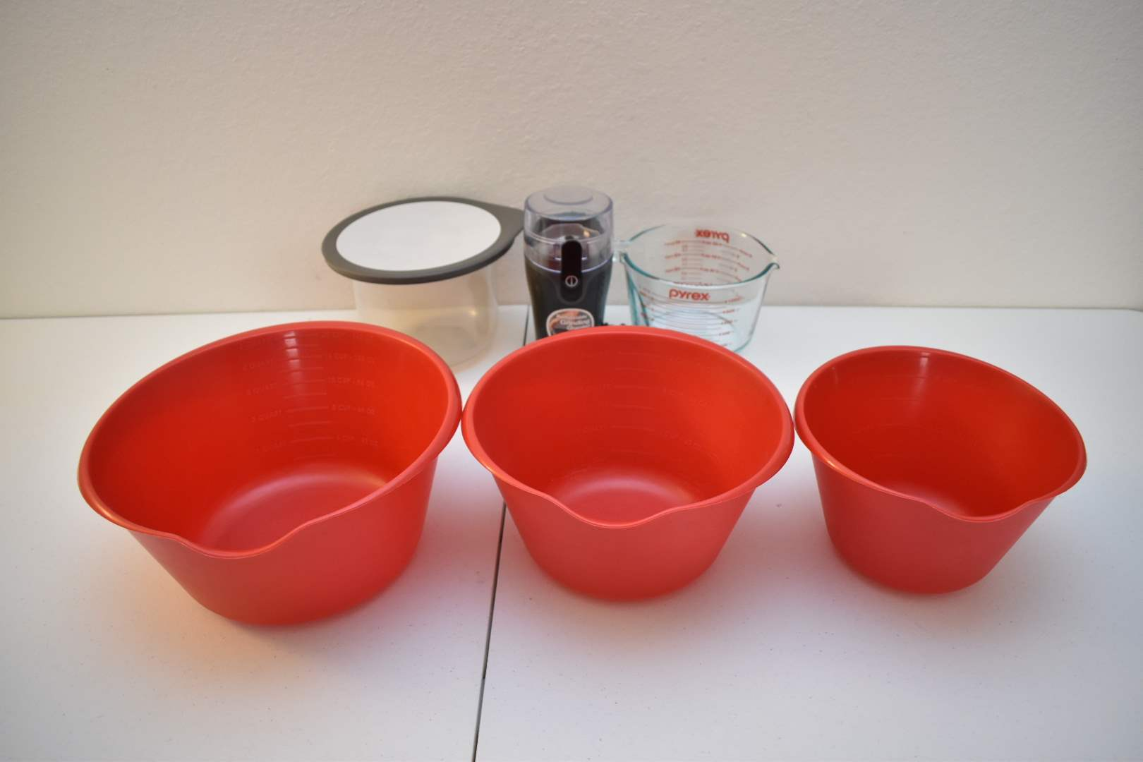 Mixing Bowls, Pyrex Measuring Cup, Coffee Grinder, Rubbermaid