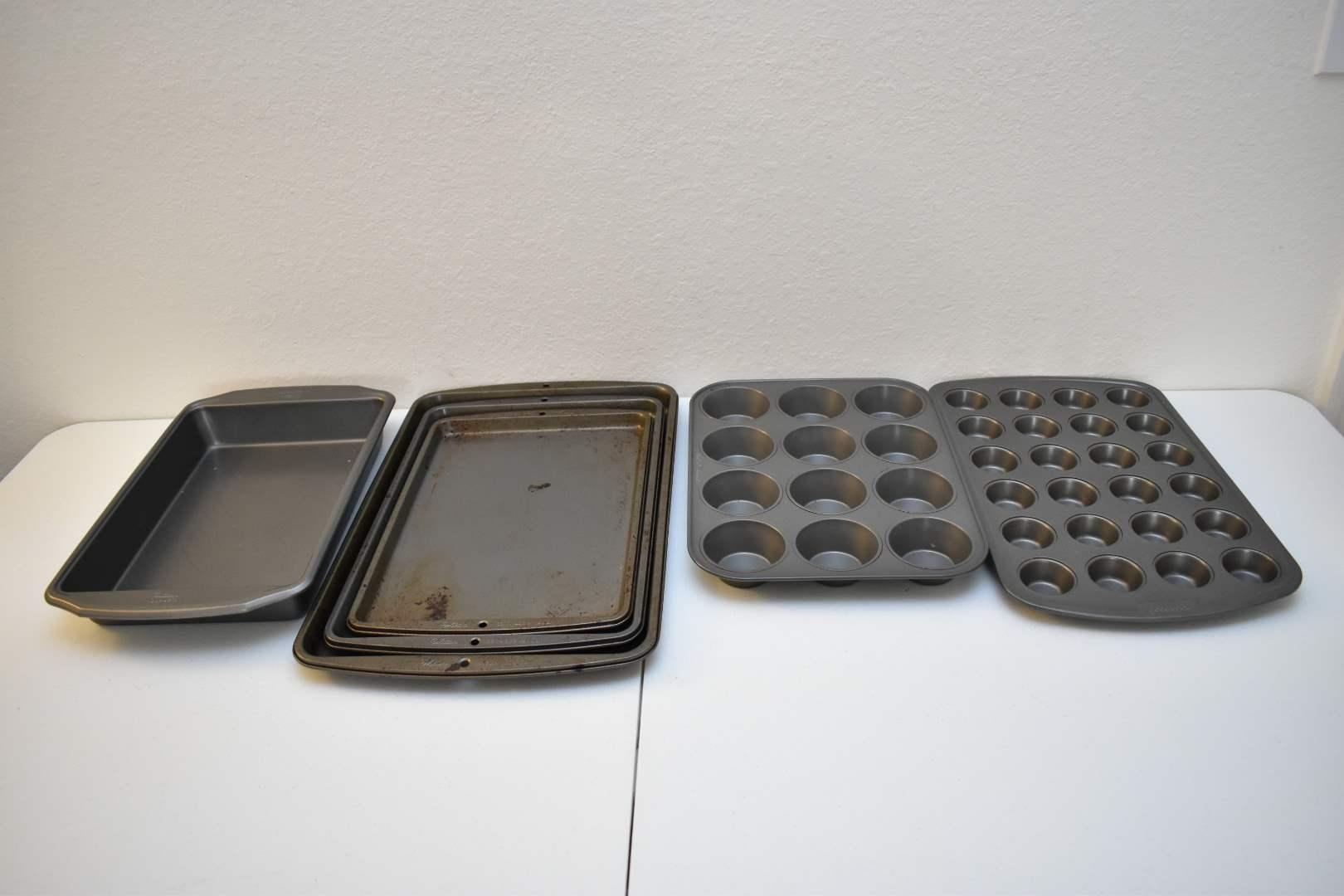 (3) Baking Sheets, (2) Cupcake Pans, Baking Pan