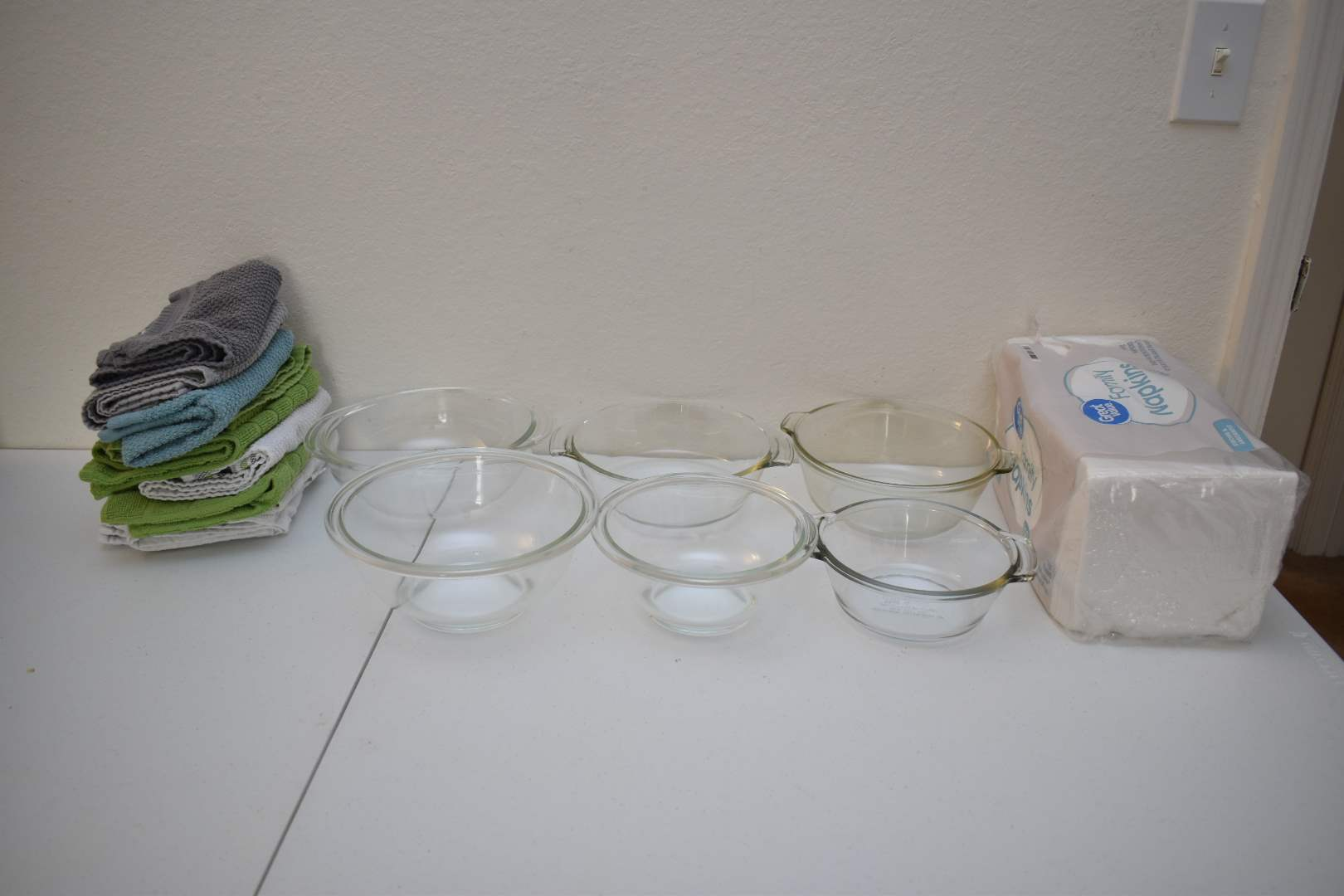 Pyrex and Fire King Bowls, Napkins, Kitchen Towels